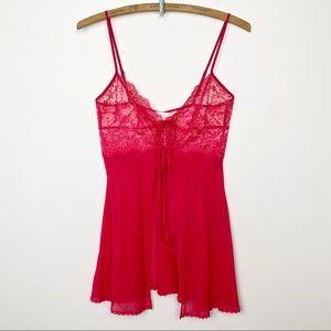 Victoria's Secret red lacy lingerie top XS